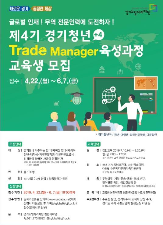 제4기 경기청년 Trade Manager 육성과정 교육생 모집