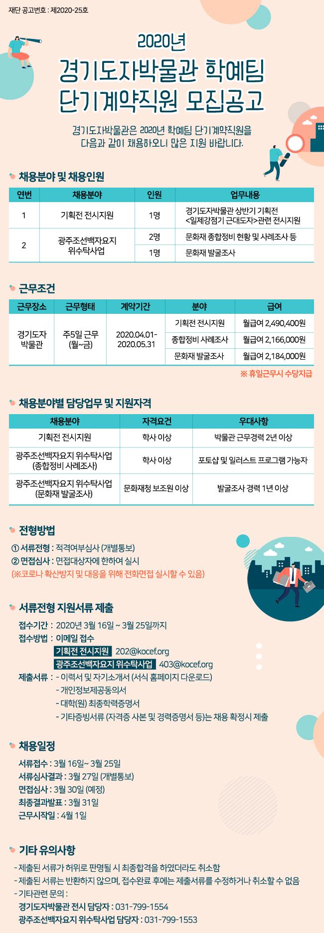 2020년 경기도자박물관 학예팀 단기계약직원 모집공고