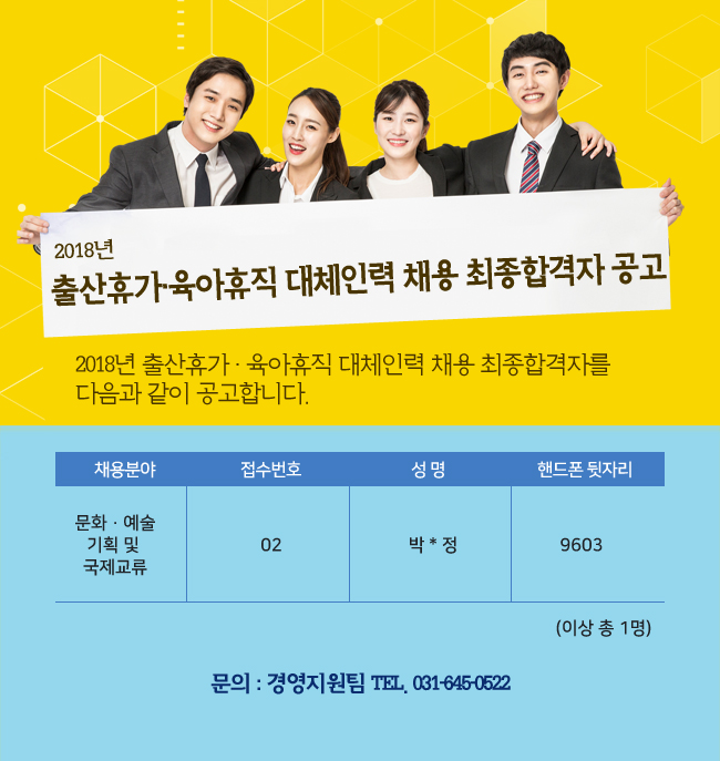 2018년 출산휴가 · 육아휴직 대체인력 채용 최종합격자 공고