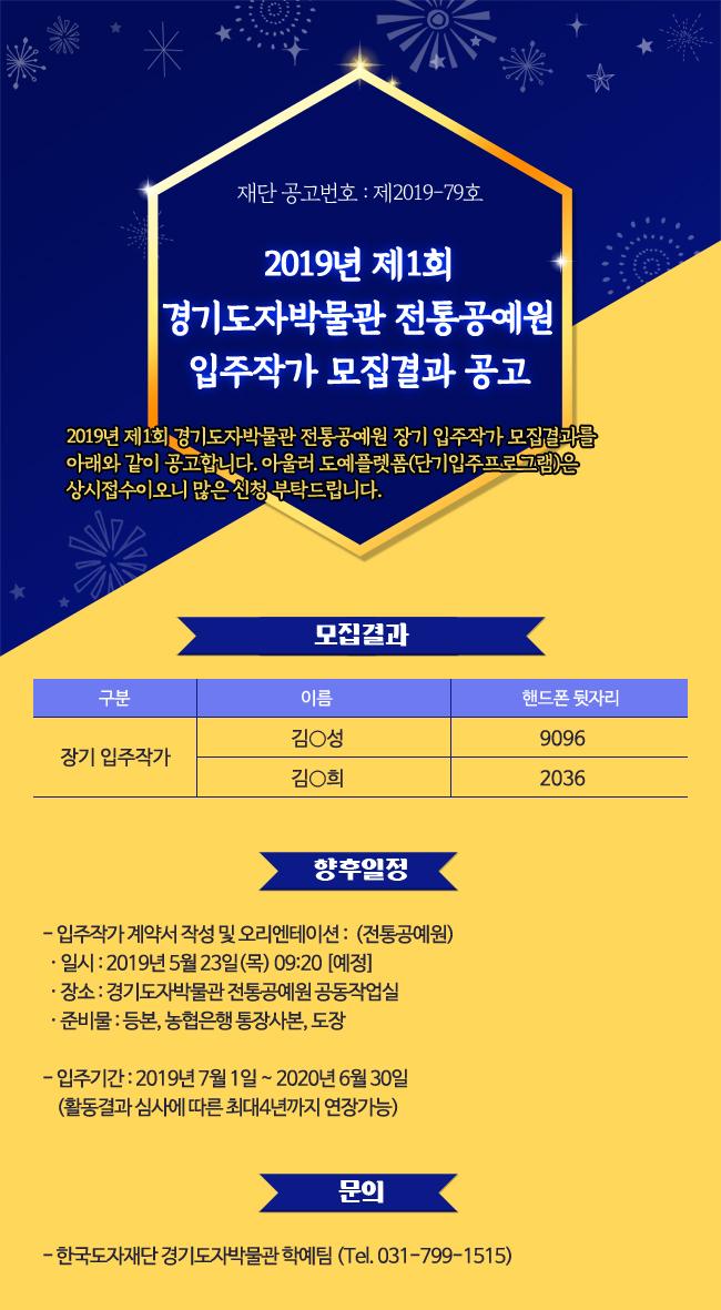 2019년 제1회 경기도자박물관 전통공예원 입주작가 모집결과 공고