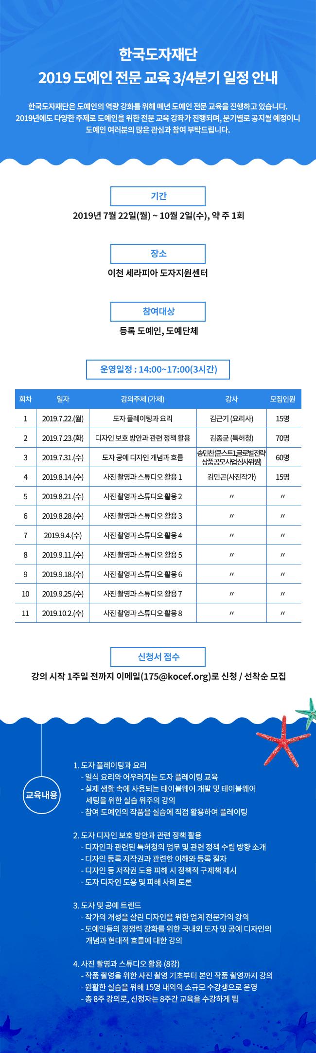 한국도자재단 2019 도예인 전문 교육 3/4분기 일정 안내
