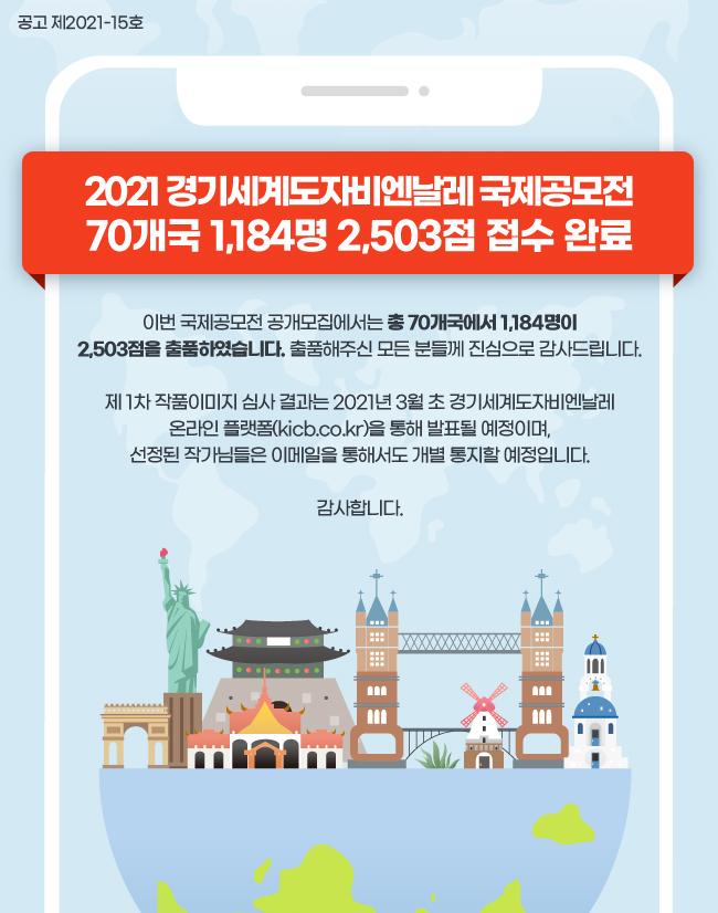 2021 국제공모전 70개국 1,184명 2,503점 접수 완료