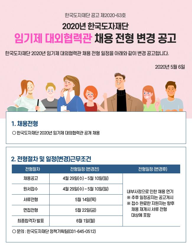 한국도자재단 2020년 임기제 대외협력관 채용 전형 변경 공고