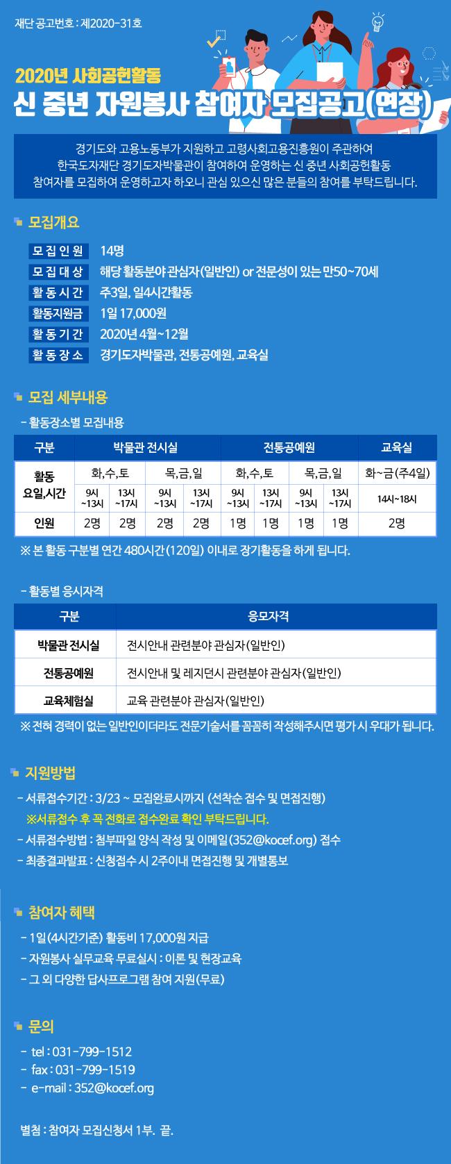 2020년 사회공헌활동 신 중년 자원봉사 참여자 모집공고(연장)