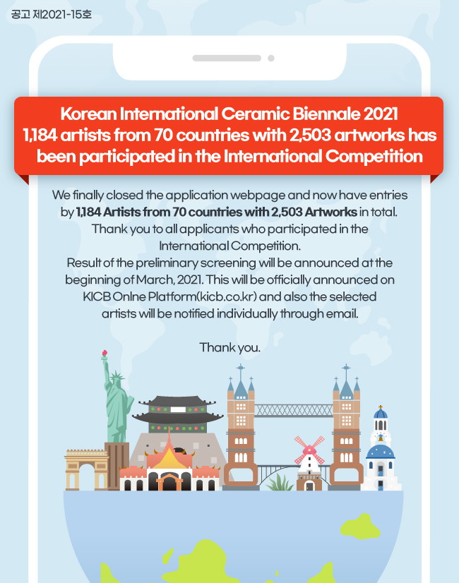 Korean International Ceramic Biennale 2021 1,184 artists from 70 countries with 2,503 artworks has been participated in the International Competition
